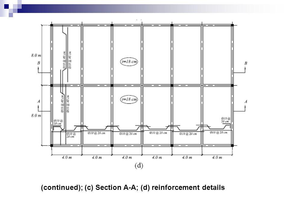 (continued); (c) Section A-A; (d) reinforcement details