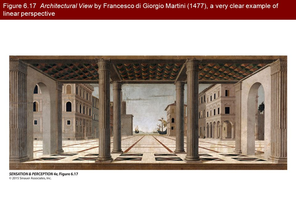 Figure 6.17 Architectural View by Francesco di Giorgio Martini (1477), a very clear example of linear perspective