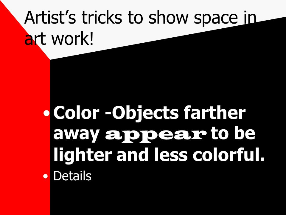 Artist's tricks to show space in art work!