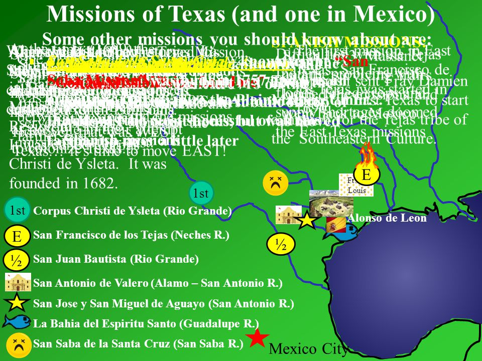 Missions of Texas (and one in Mexico)