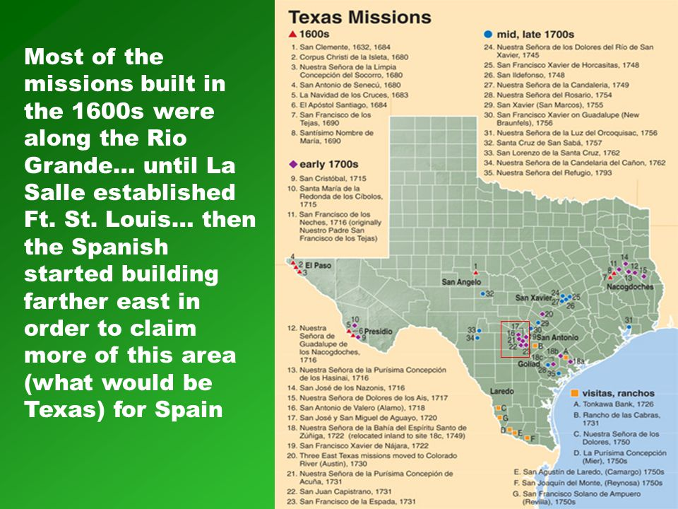 Most of the missions built in the 1600s were along the Rio Grande… until La Salle established Ft.