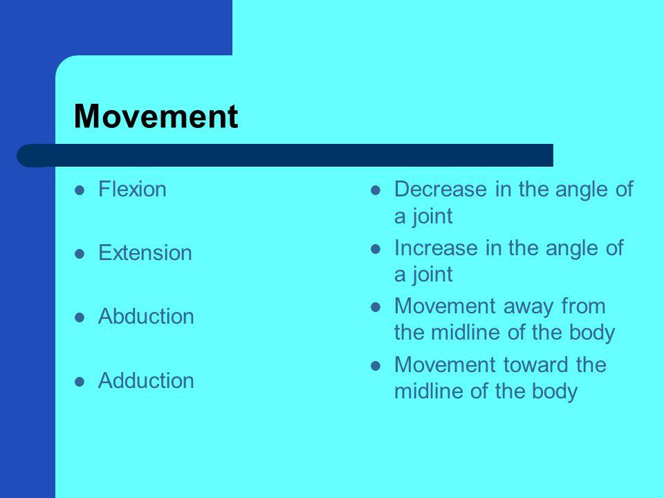 Movement Flexion Extension Abduction Adduction