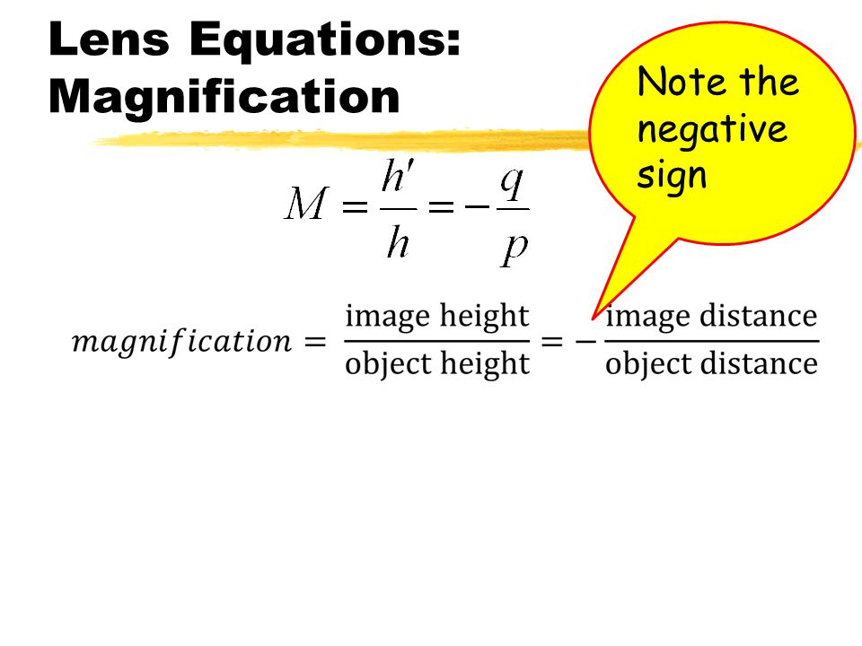 Lens Equations: Magnification
