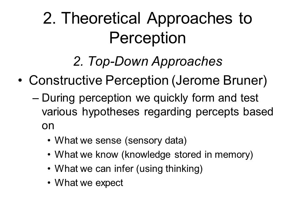 2. Theoretical Approaches to Perception