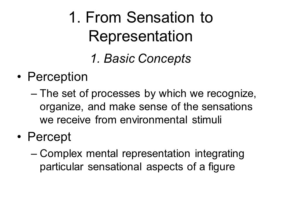 1. From Sensation to Representation