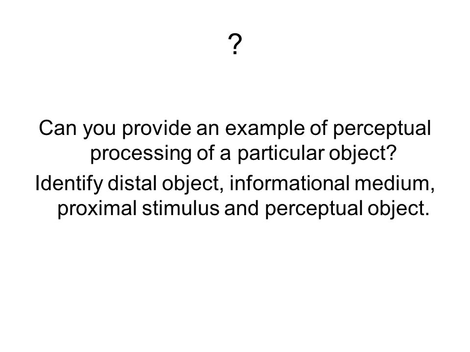Can you provide an example of perceptual processing of a particular object