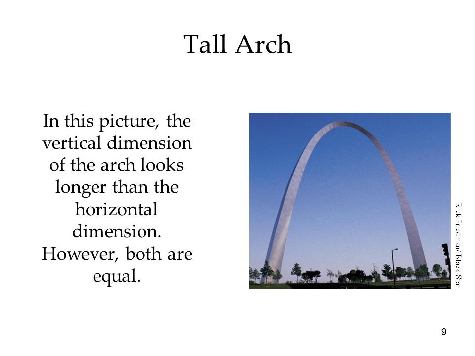Tall Arch In this picture, the vertical dimension of the arch looks longer than the horizontal dimension. However, both are equal.