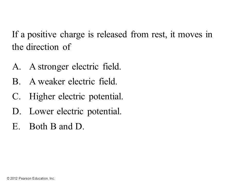 A stronger electric field. A weaker electric field.