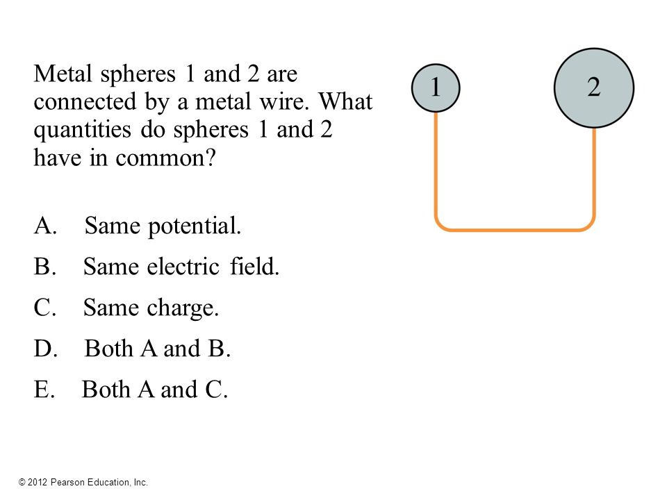 Metal spheres 1 and 2 are connected by a metal wire
