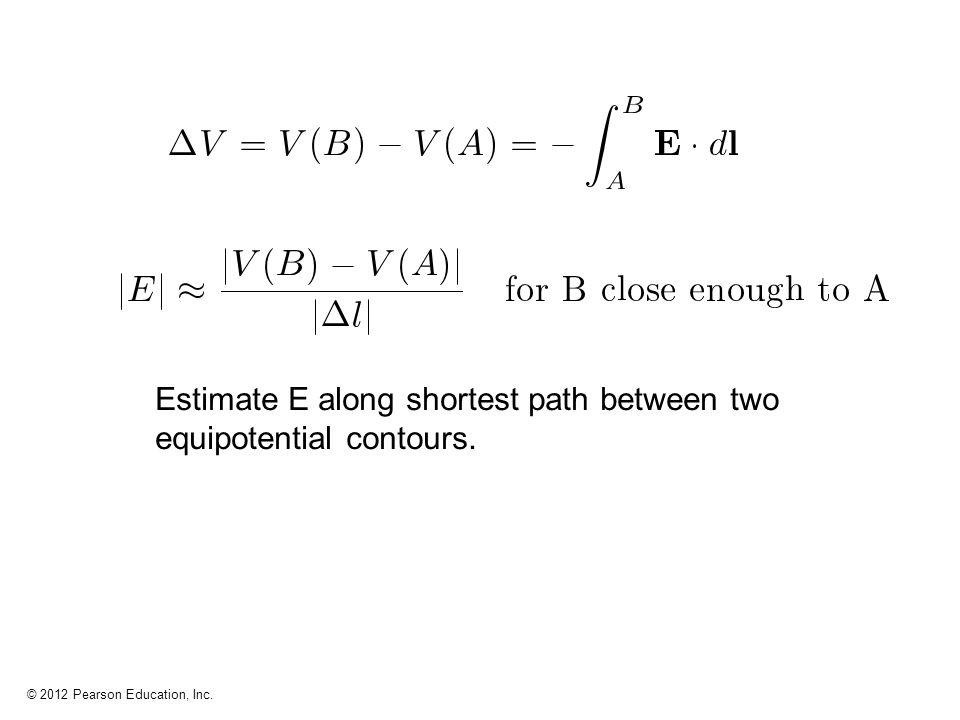 Estimate E along shortest path between two equipotential contours.