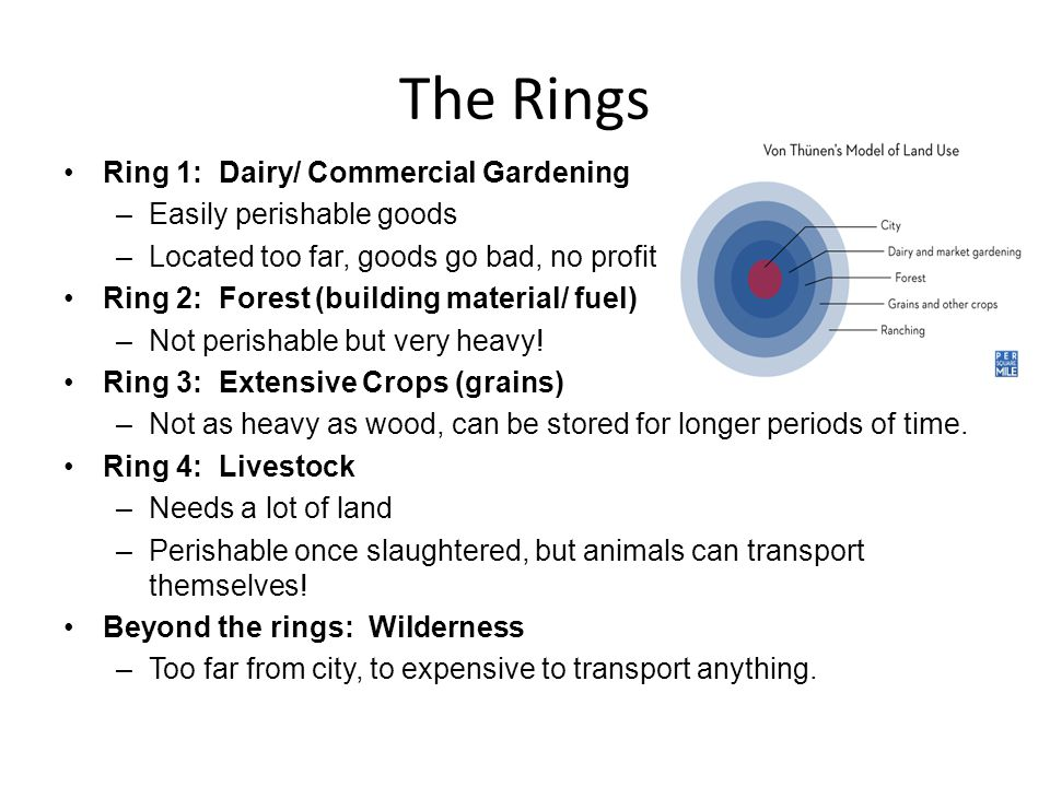 The Rings Ring 1: Dairy/ Commercial Gardening Easily perishable goods