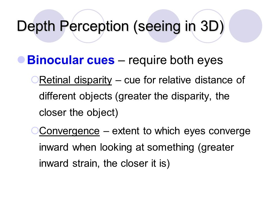 Depth Perception (seeing in 3D)