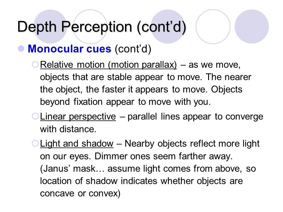 Depth Perception (cont'd)
