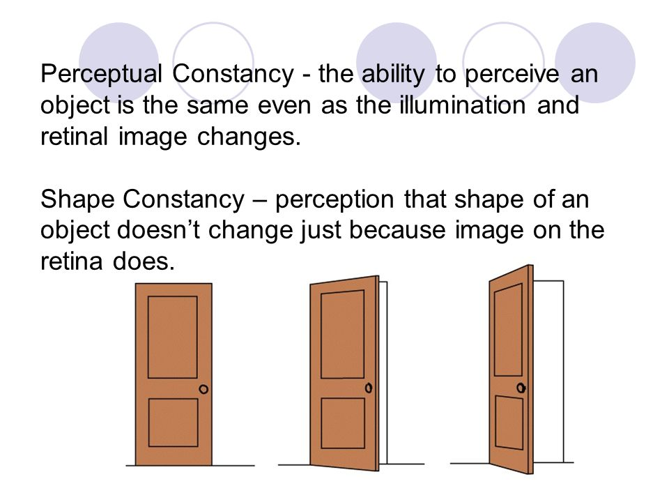Perceptual Constancy - the ability to perceive an object is the same even as the illumination and retinal image changes.