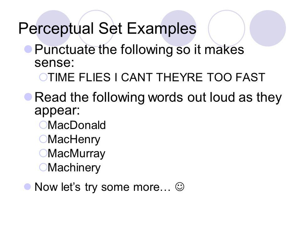 Perceptual Set Examples