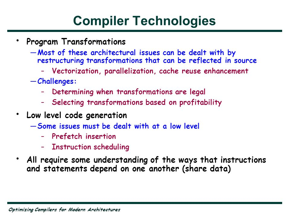 Compiler Technologies