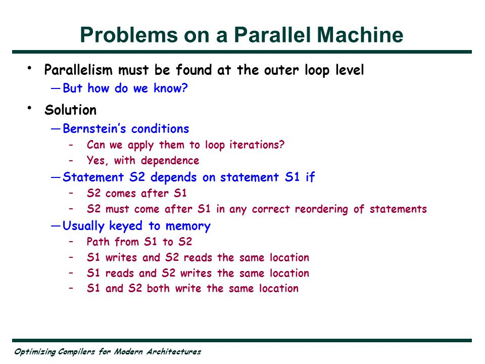 Problems on a Parallel Machine