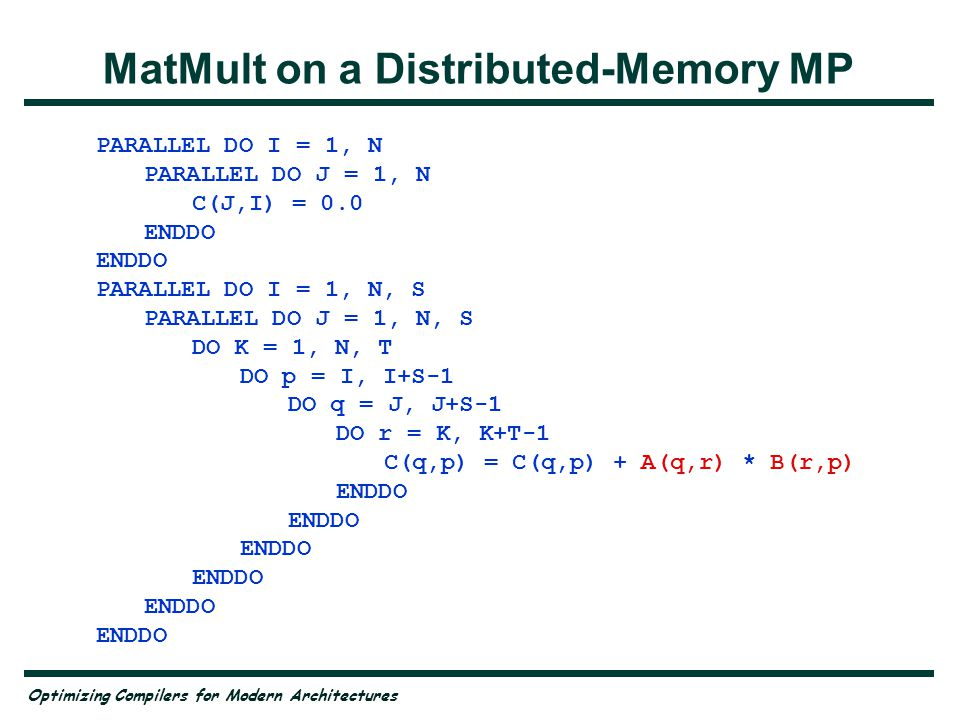 MatMult on a Distributed-Memory MP