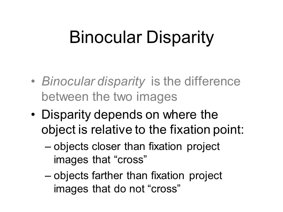 Binocular Disparity Binocular disparity is the difference between the two images.