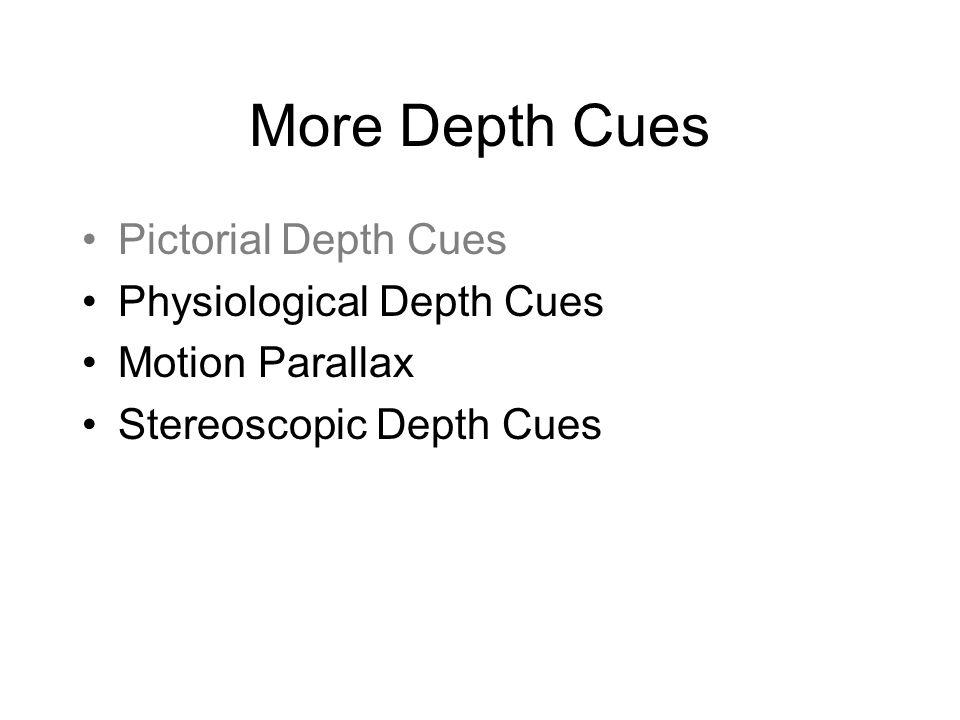 More Depth Cues Pictorial Depth Cues Physiological Depth Cues