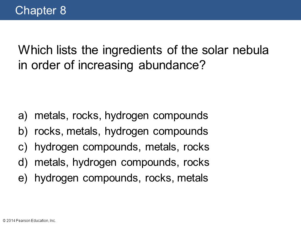 Which lists the ingredients of the solar nebula in order of increasing abundance