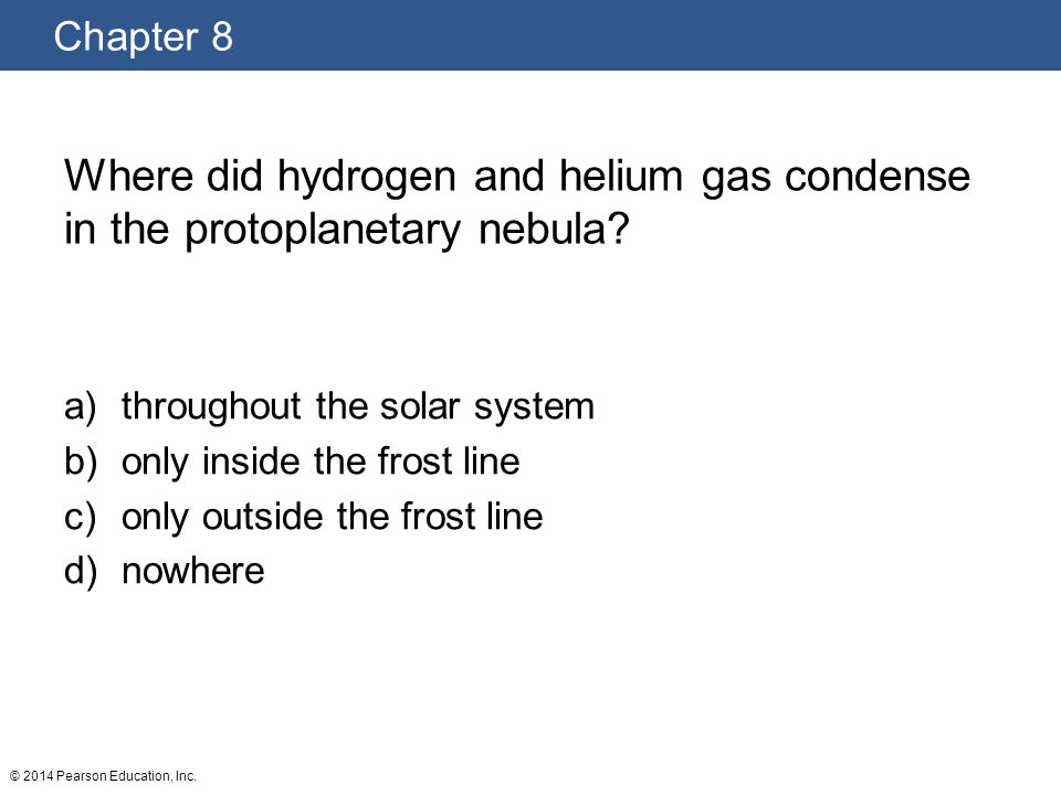 Where did hydrogen and helium gas condense in the protoplanetary nebula