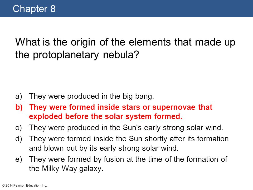 What is the origin of the elements that made up the protoplanetary nebula
