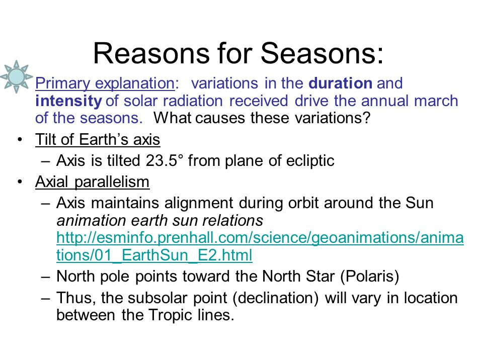 Reasons for Seasons: