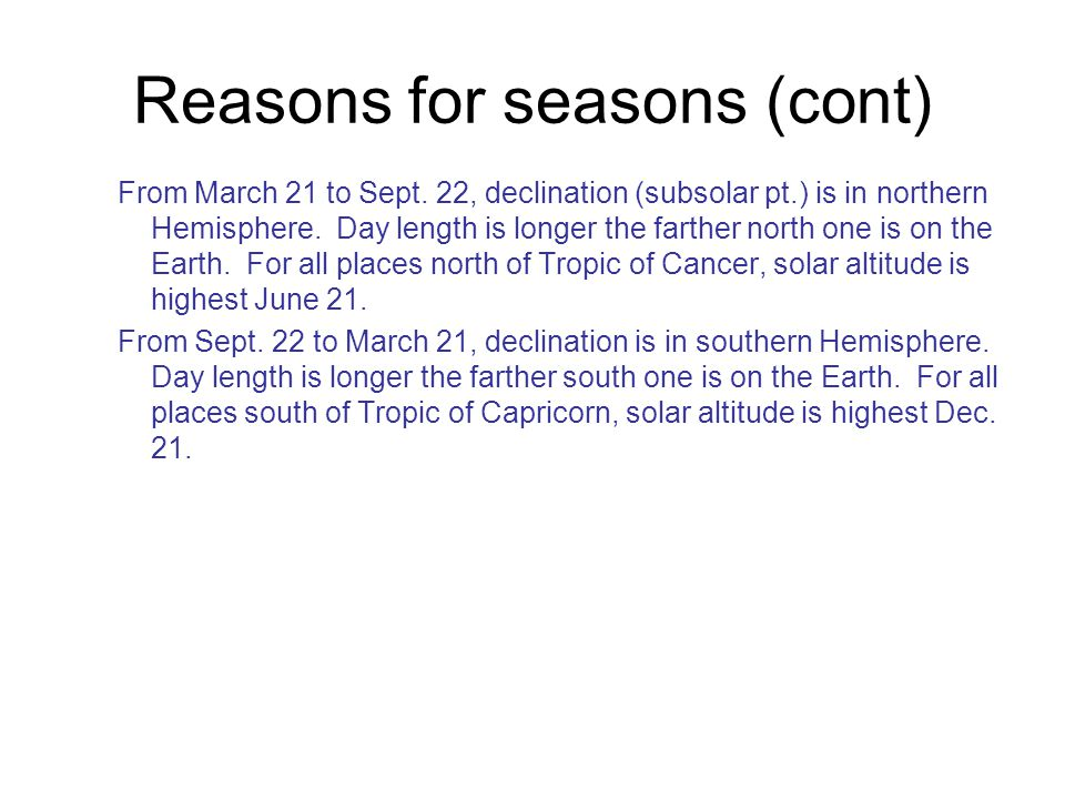 Reasons for seasons (cont)