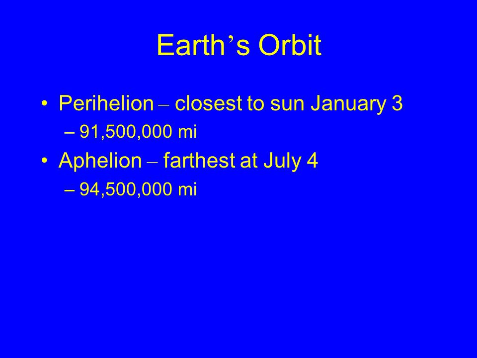 Earth's Orbit Perihelion – closest to sun January 3