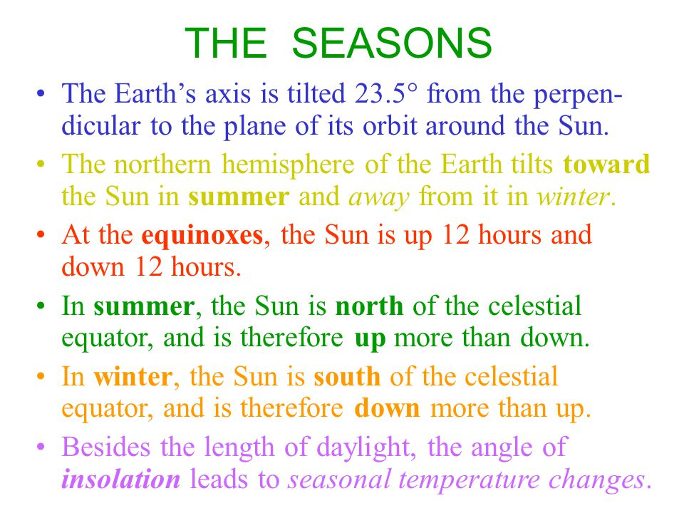 THE SEASONS The Earth's axis is tilted 23.5° from the perpen-dicular to the plane of its orbit around the Sun.