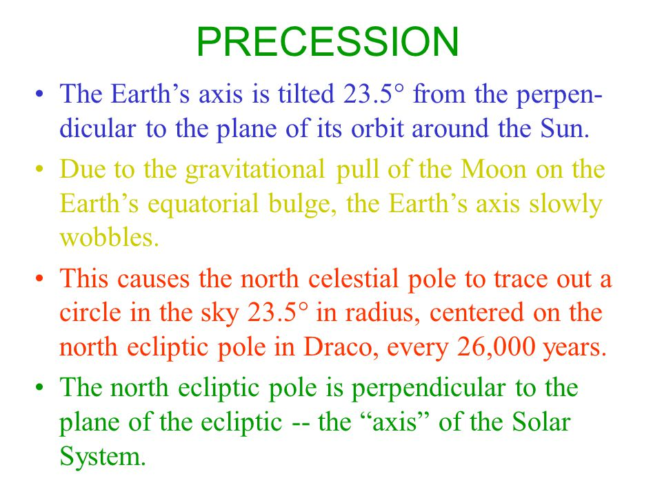 PRECESSION The Earth's axis is tilted 23.5° from the perpen-dicular to the plane of its orbit around the Sun.