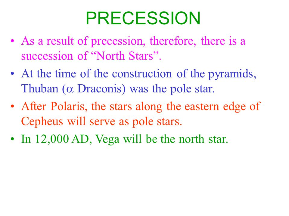PRECESSION As a result of precession, therefore, there is a succession of North Stars .