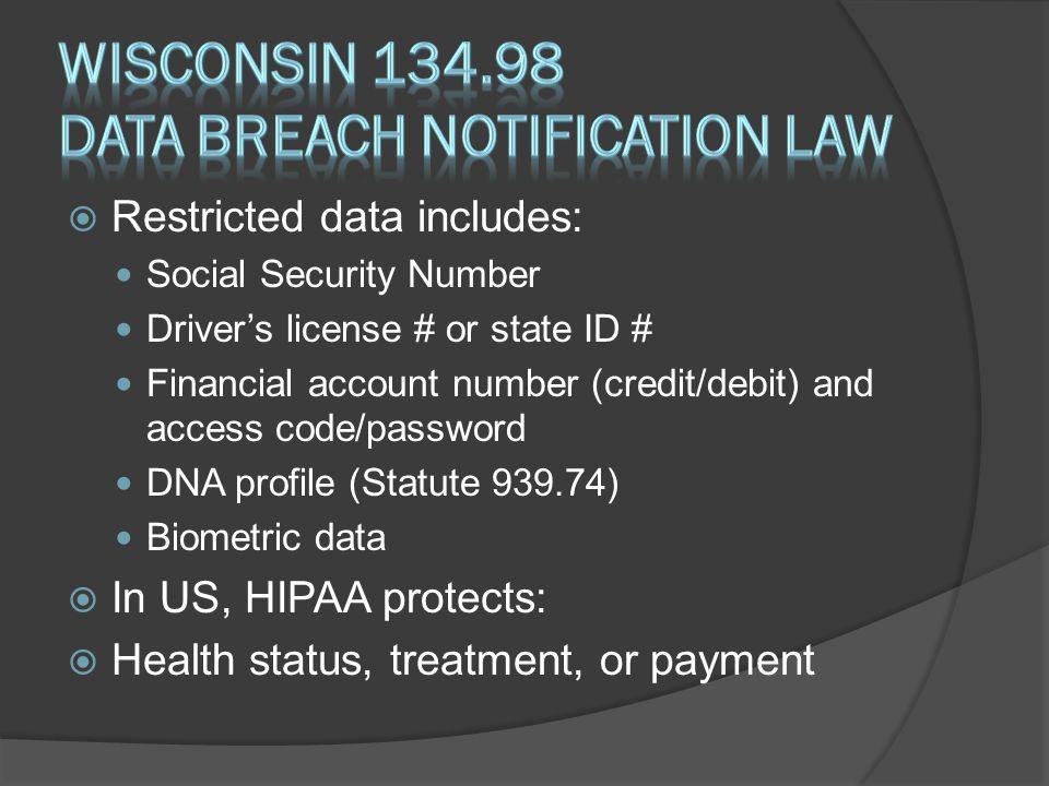 Wisconsin 134.98 Data Breach notification law