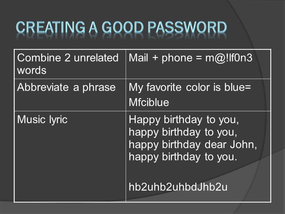 Creating a good password