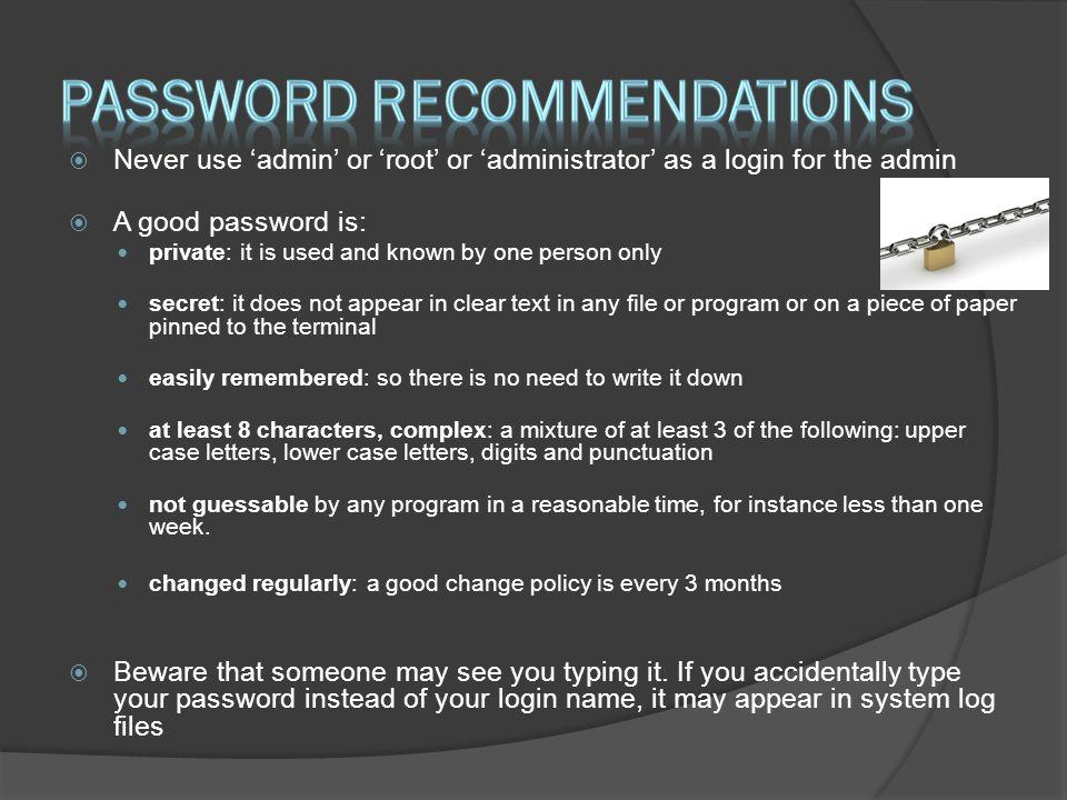 Password recommendations