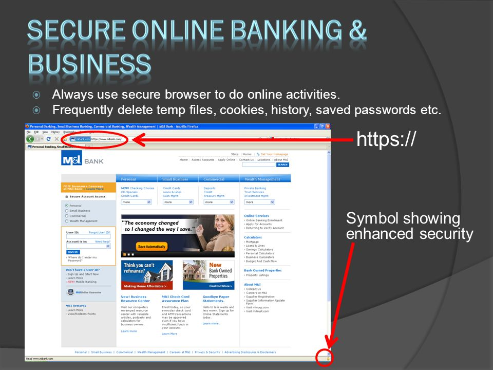 Secure online banking & business