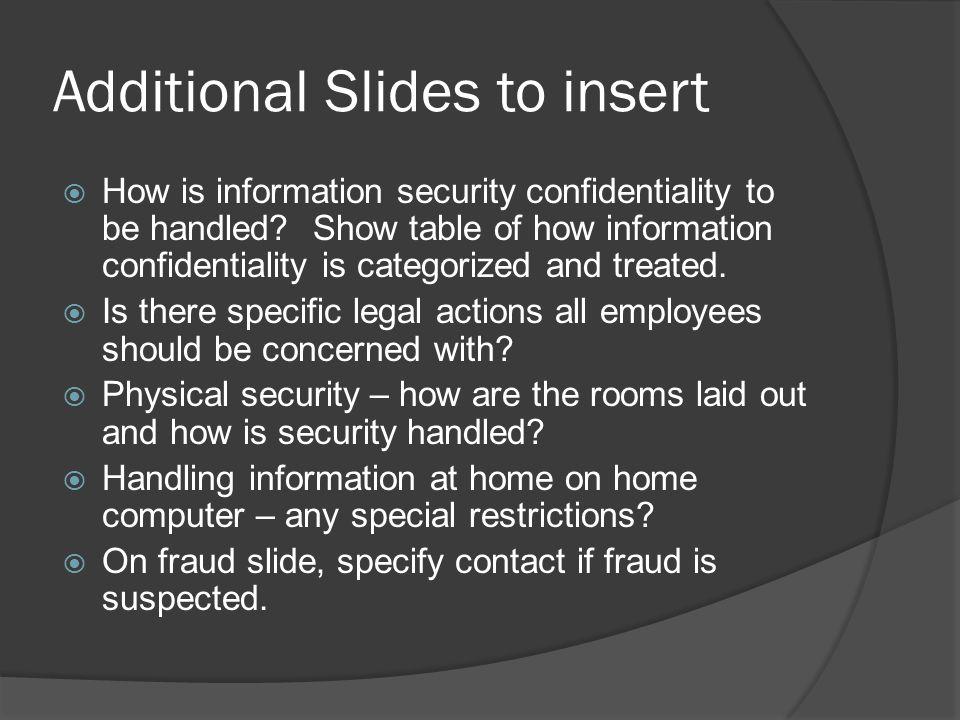 Additional Slides to insert