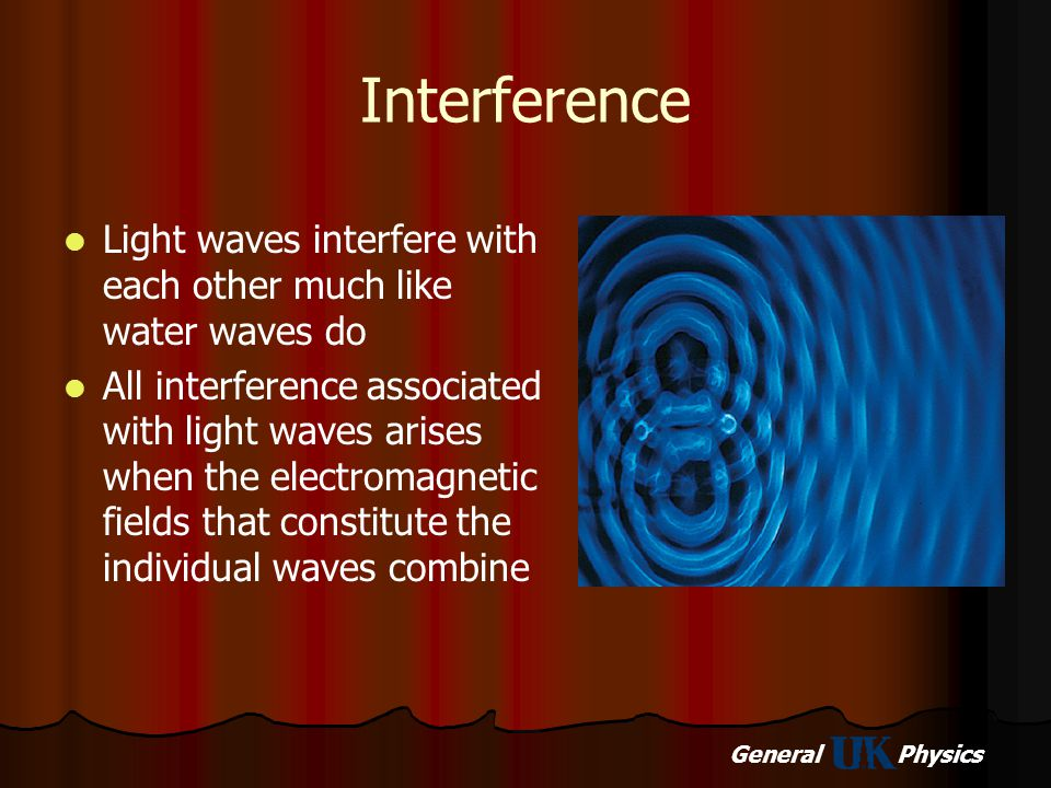 Interference Light waves interfere with each other much like water waves do.