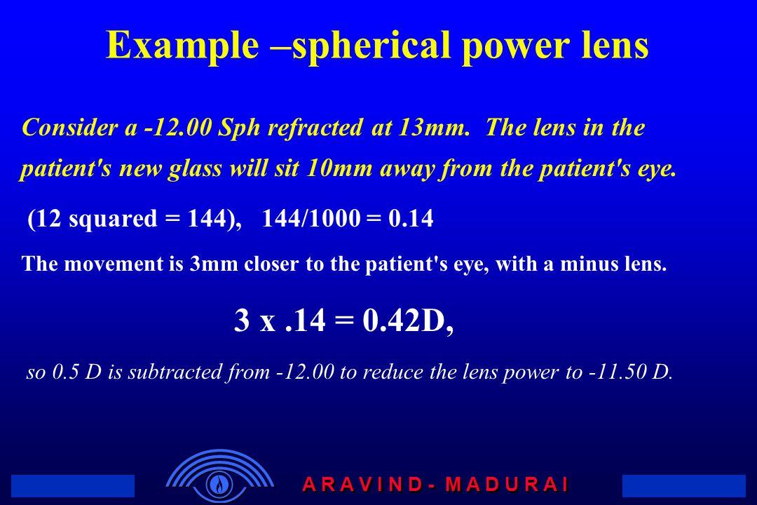 Example –spherical power lens