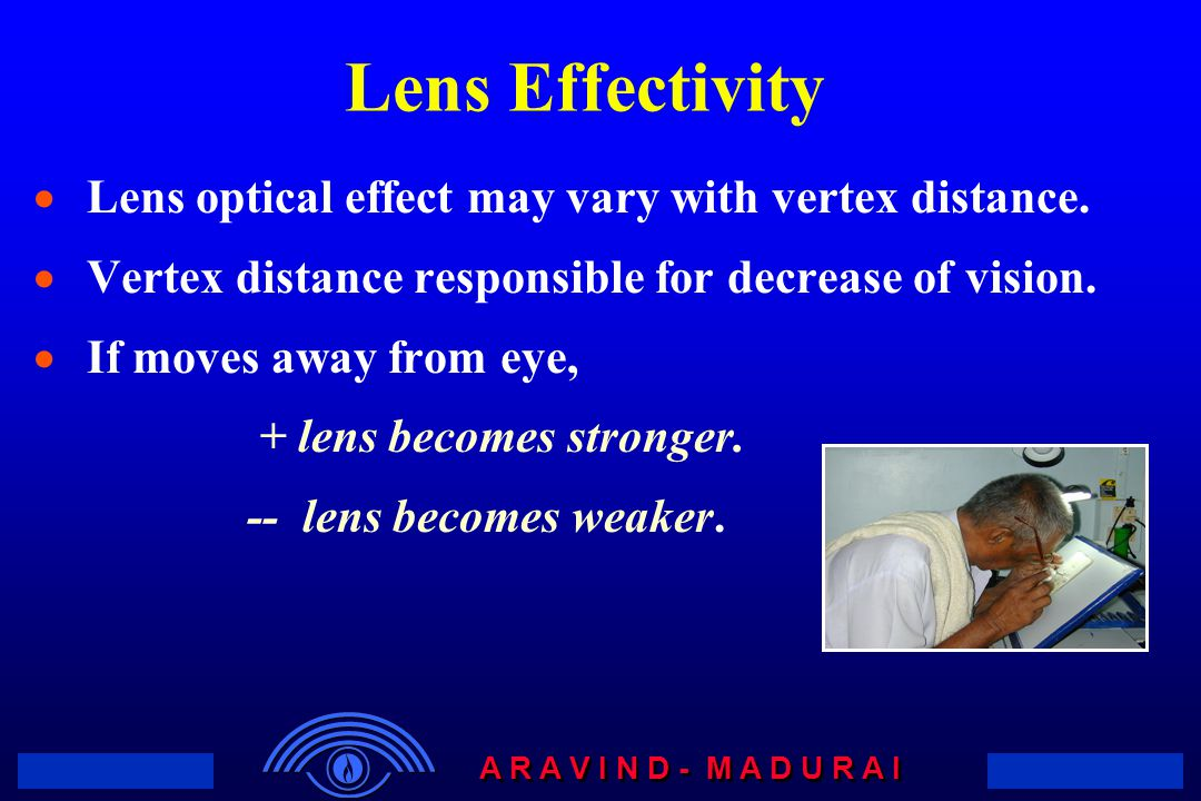 Lens Effectivity Lens optical effect may vary with vertex distance.