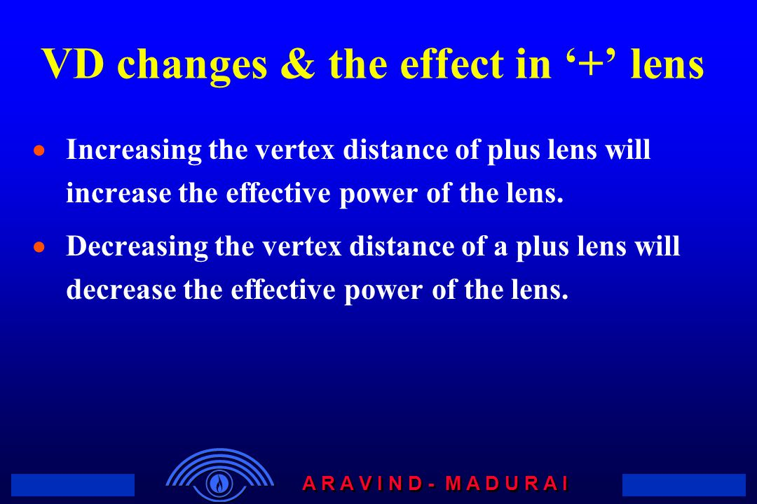 VD changes & the effect in '+' lens