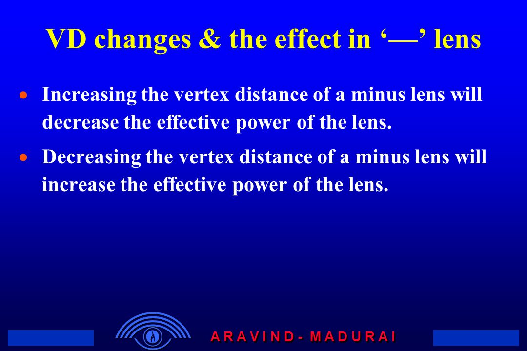 VD changes & the effect in '—' lens