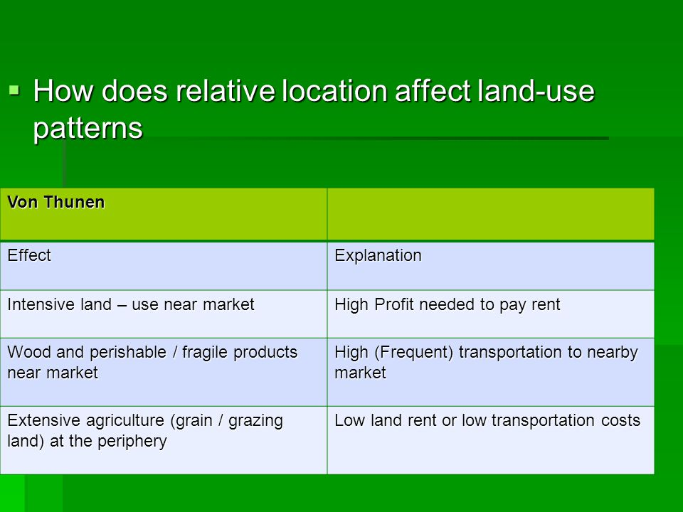 How does relative location affect land-use patterns
