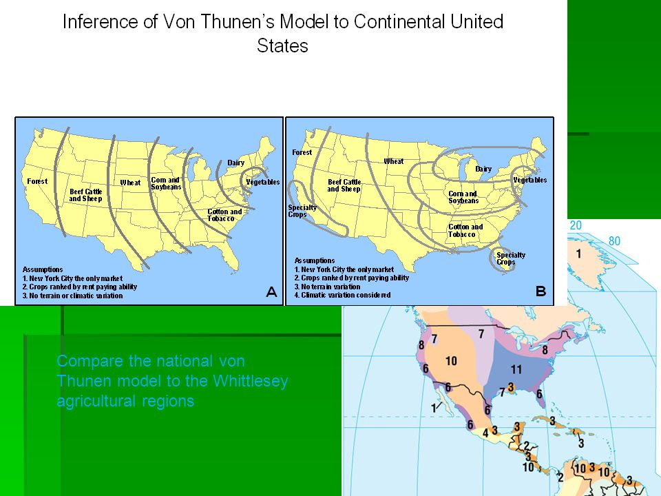 Compare the national von Thunen model to the Whittlesey agricultural regions