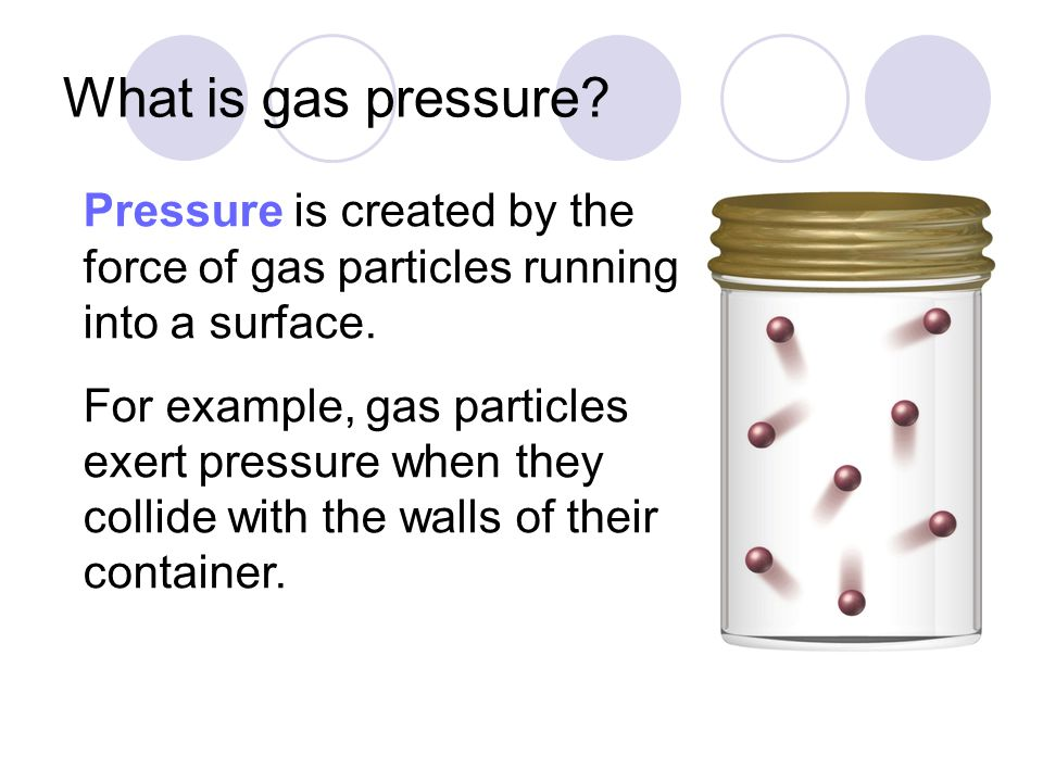 What is gas pressure Pressure is created by the force of gas particles running into a surface.
