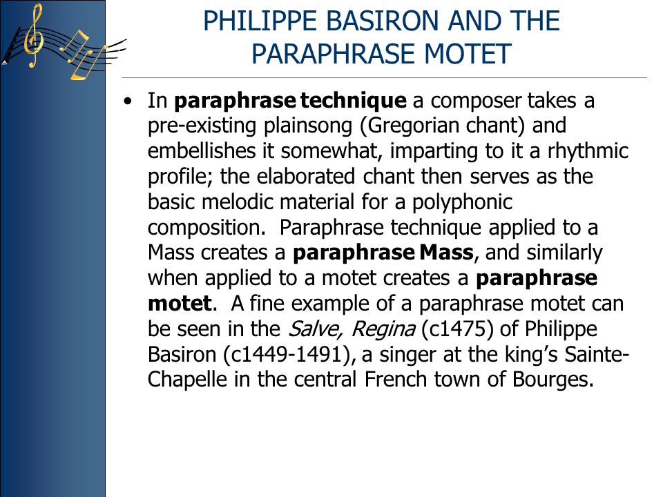 PHILIPPE BASIRON AND THE PARAPHRASE MOTET