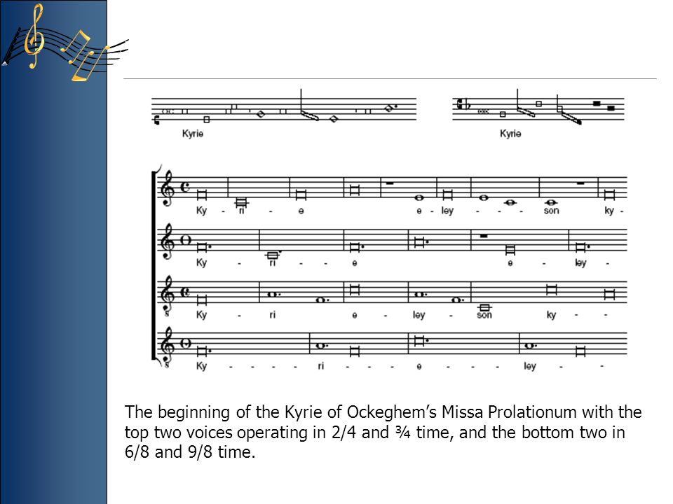 The beginning of the Kyrie of Ockeghem's Missa Prolationum with the top two voices operating in 2/4 and ¾ time, and the bottom two in 6/8 and 9/8 time.