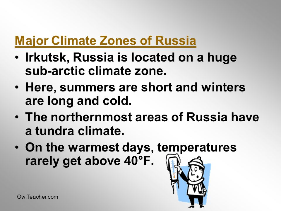 Major Climate Zones of Russia