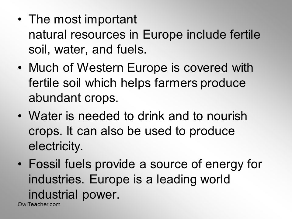 The most important natural resources in Europe include fertile soil, water, and fuels.